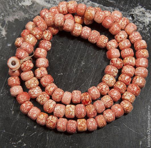 Для украшений ручной работы. Ярмарка Мастеров - ручная работа. Купить Кораллово-розовые стеклянные этнические бусины. Handmade. Бусины