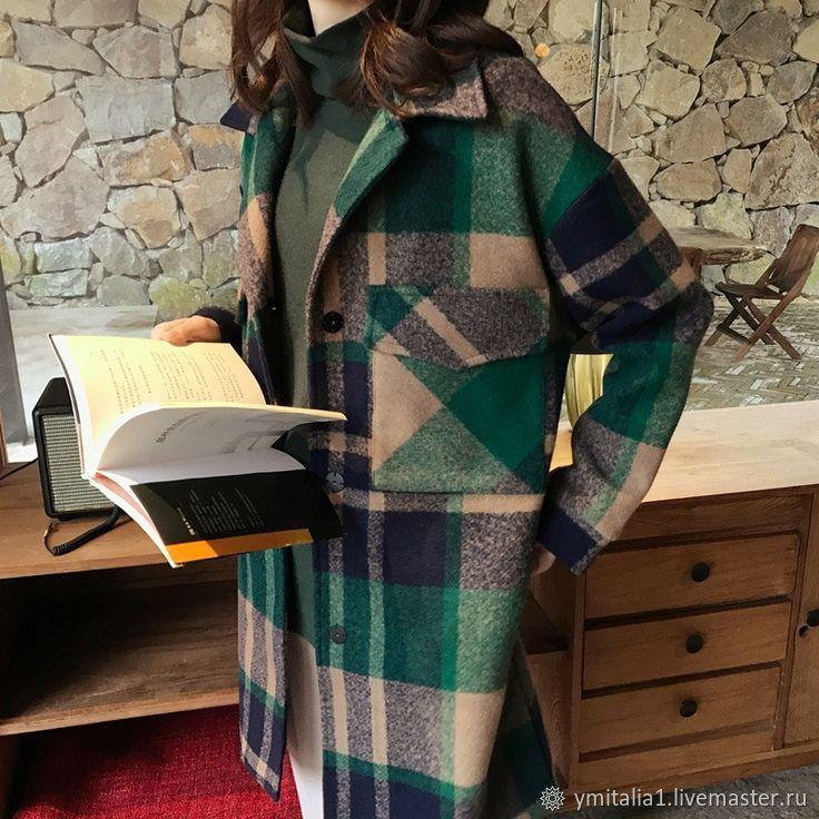 Ткани:Шерсть пальтовая в клетку изумрудно-коричневая Мара Хоффман – купить на Ярмарке Мастеров – OYNNKRU | Ткани, Москва