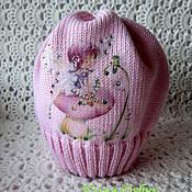 Работы для детей, ручной работы. Ярмарка Мастеров - ручная работа Мериносовая шапочка с картинкой на осень-весну.... Handmade.