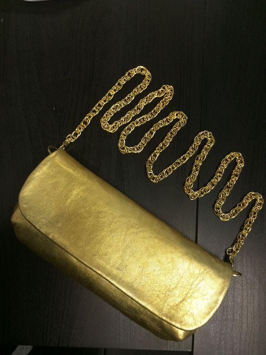 Женские сумки ручной работы. Ярмарка Мастеров - ручная работа. Купить Клатч золотой из натуральной кожи. Handmade. Клатч