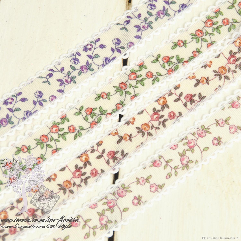 Репсовая лента в мелкую розу, Ленты, Москва,  Фото №1