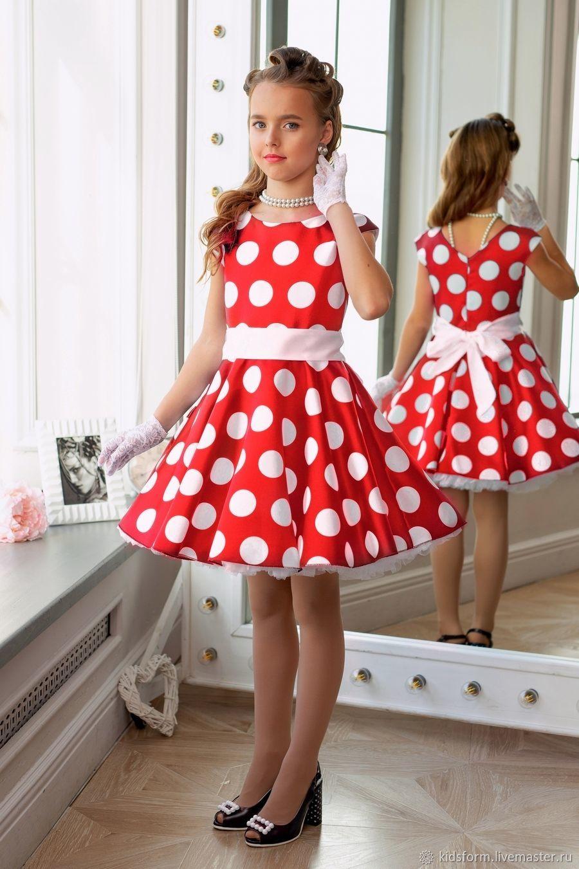 779a38833d5 Красное нарядное платье для девочки в горох Ретро Стиляги – купить в ...