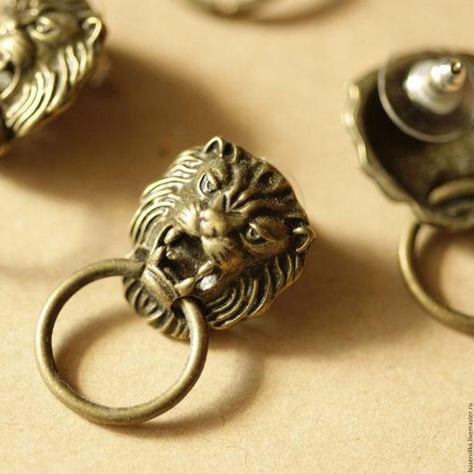 Для украшений ручной работы. Ярмарка Мастеров - ручная работа. Купить Пусеты Львы, античная бронза (1 пара). Handmade.