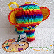 """Мягкие игрушки ручной работы. Ярмарка Мастеров - ручная работа Вязаный слоник """"Радуга"""". Handmade."""