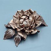 Украшения handmade. Livemaster - original item Rose CLARISSA brooch made of genuine leather. Handmade.