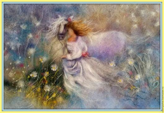 Пейзаж ручной работы. Ярмарка Мастеров - ручная работа. Купить Девушка и Лошадь. Handmade. Комбинированный, нежность, романтика, любовь, лошадь