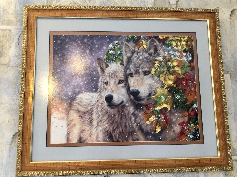 Картина бисером «Пара волков», Картины, Тюмень,  Фото №1