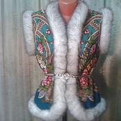 Одежда ручной работы. Ярмарка Мастеров - ручная работа ЖИЛЕТ из павловопосадского платка в русском стиле. Handmade.