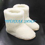 Обувь ручной работы handmade. Livemaster - original item HOME BOOTS with the addition of sheep wool. Handmade.