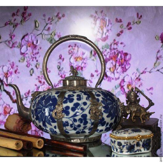 Винтажная посуда. Ярмарка Мастеров - ручная работа. Купить Винтажный коллекционный китайский чайник с синей росписью. Handmade. Комбинированный, для дома