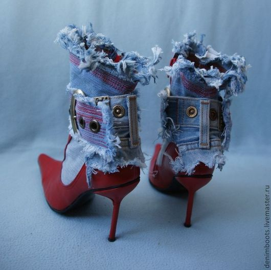 """Обувь ручной работы. Ярмарка Мастеров - ручная работа. Купить Ботинки """"Поцелуй"""" джинс+кожа. Handmade. Ярко-красный, демисезонная обувь"""