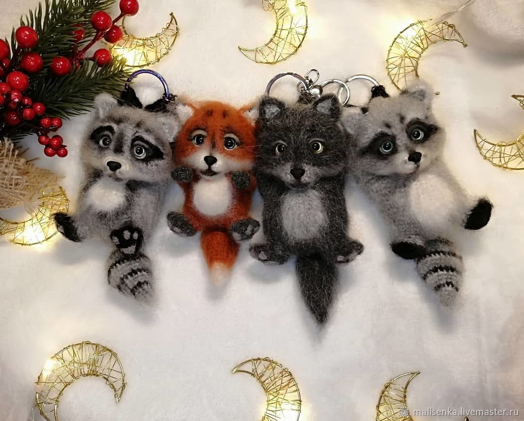 Keychain raccoon, wolf, fox, Amigurumi dolls and toys, Angarsk,  Фото №1
