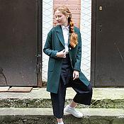 Одежда ручной работы. Ярмарка Мастеров - ручная работа Пальто зеленое 2 маленькое xs s халат пиджак осенее осень весна зима. Handmade.