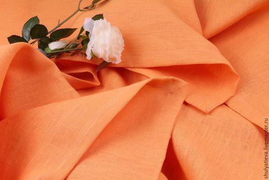"""Текстиль, ковры ручной работы. Ярмарка Мастеров - ручная работа. Купить Скатерть льняная """"Персик"""". Handmade. Персиковый, скатерть круглая"""