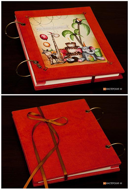 """Фотоальбомы ручной работы. Ярмарка Мастеров - ручная работа. Купить Фотоальбом """"День рождения"""". Handmade. Рыжий, детский фотоальбом, холст"""