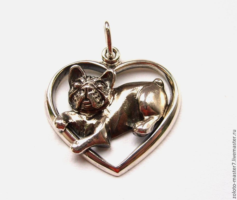 Pendant 'French bulldog' silver, Pendants, Chaikovsky,  Фото №1