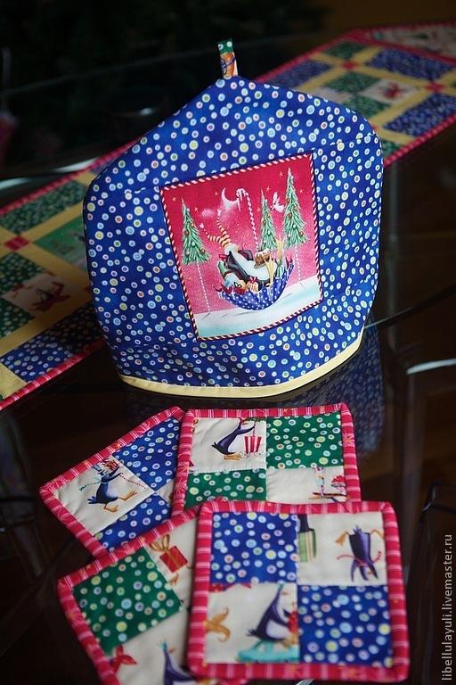 """Кухня ручной работы. Ярмарка Мастеров - ручная работа. Купить Столовый набор """"Пингвины"""". Handmade. Синий, грелка на чайник"""