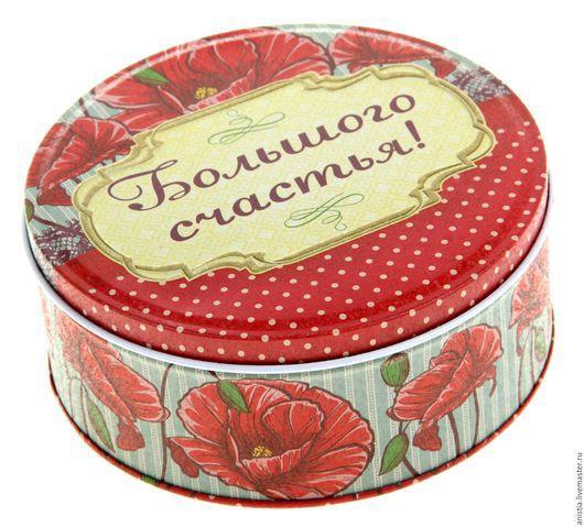 Упаковка ручной работы. Ярмарка Мастеров - ручная работа. Купить Металлическая коробка круглая, диаметр 13,5 см. Handmade.