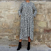 Одежда ручной работы. Ярмарка Мастеров - ручная работа Черно-белое миди макси платье из хлопка, с длинными рукавами. Handmade.