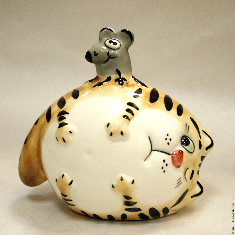 Porcelain cat-and-mouse (my new handiwork), Figurines, Sergiev Posad,  Фото №1