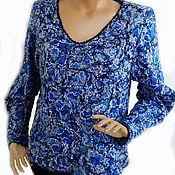 Одежда ручной работы. Ярмарка Мастеров - ручная работа Пуловер Крейзи лазурит. Handmade.