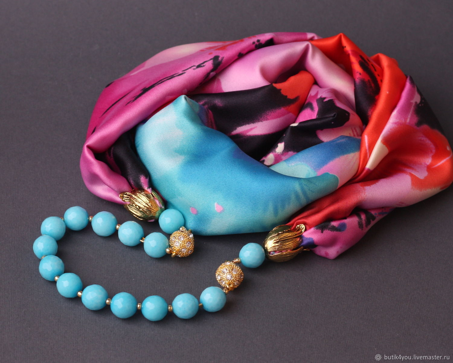 'KENZO' Necklace-scarf transformer made of silk with natural stones, Necklace, Moscow,  Фото №1