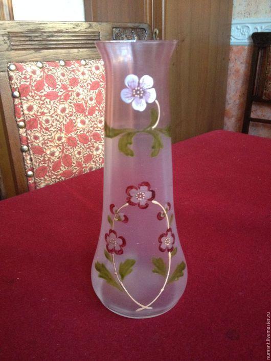 Винтажные предметы интерьера. Ярмарка Мастеров - ручная работа. Купить Маленькая вазочка в стиле модерн, стекло, ручная роспись. Handmade.