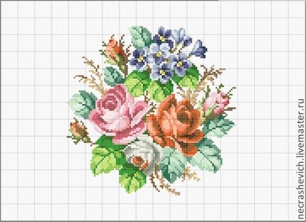 """схема вышивки """"Букет роз""""."""