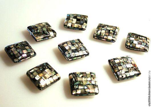 Для украшений ручной работы. Ярмарка Мастеров - ручная работа. Купить Бусина- гигант ( Гелиотис Пауа) плоский квадрат 23х23. Handmade.