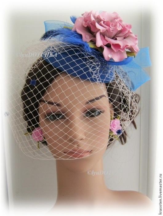 """Шляпы ручной работы. Ярмарка Мастеров - ручная работа. Купить Шляпка вуалетка """"Лагуна"""". Handmade. Синий, вуалетка с цветами"""