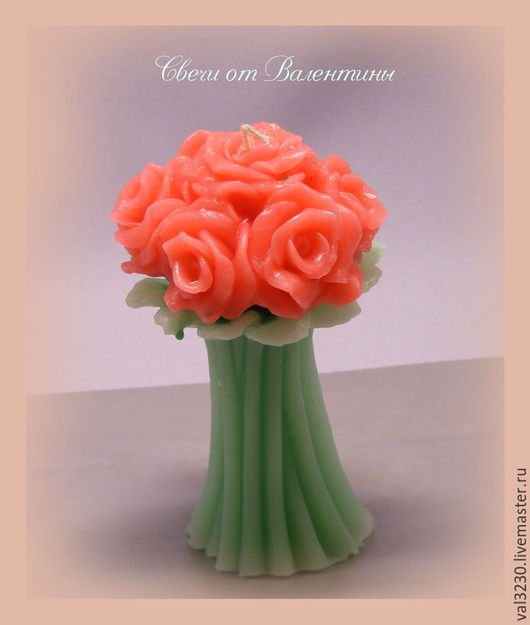 Свечи ручной работы. Ярмарка Мастеров - ручная работа. Купить Свеча «Букет Роз». Handmade. Комбинированный, свеча ручной работы