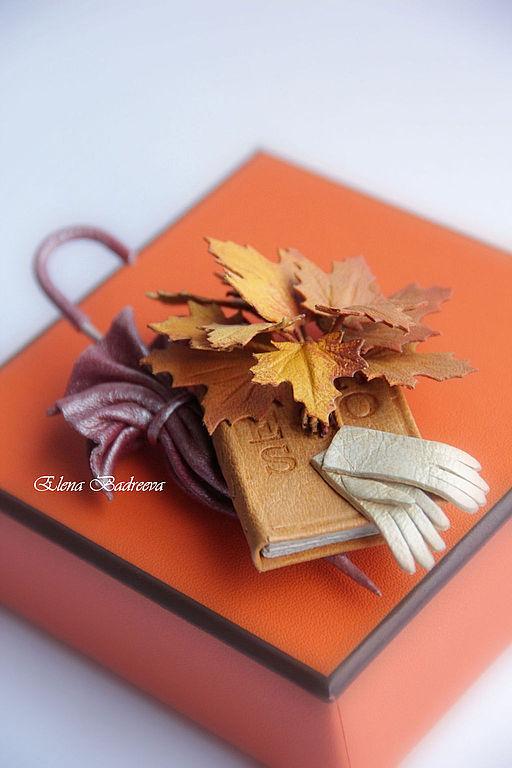"""Броши ручной работы. Ярмарка Мастеров - ручная работа. Купить Авторская брошь из кожи """"Осенняя прогулка"""". Handmade. Оранжевый, подарок"""