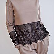 Одежда ручной работы. Ярмарка Мастеров - ручная работа Свитшот с кружевом женский. Handmade.