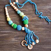Одежда ручной работы. Ярмарка Мастеров - ручная работа Слингобусы в зелено-голубых тонах с кисточкой и цветком. Handmade.