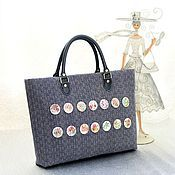 Сумки и аксессуары handmade. Livemaster - original item Bag with buttons )) blue vintage style ))