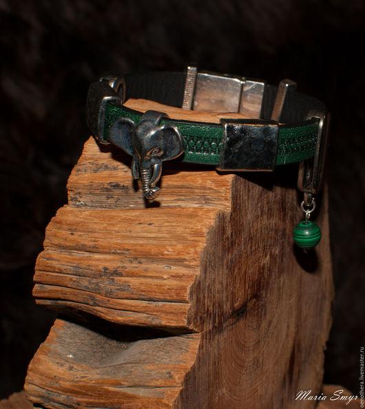 Браслеты ручной работы. Ярмарка Мастеров - ручная работа. Купить Браслет. Handmade. Тёмно-зелёный, слон, металлическая фурнитура