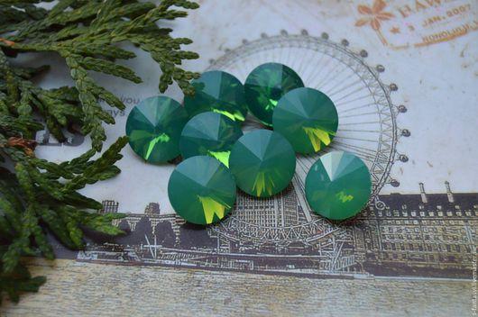 """Для украшений ручной работы. Ярмарка Мастеров - ручная работа. Купить Риволи 14 мм """"Зеленый опал"""". Handmade. Мятный"""