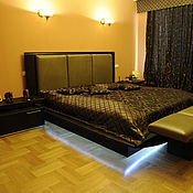 Для дома и интерьера handmade. Livemaster - original item 72. Platform bed made of natural leather and wood with lights. Handmade.