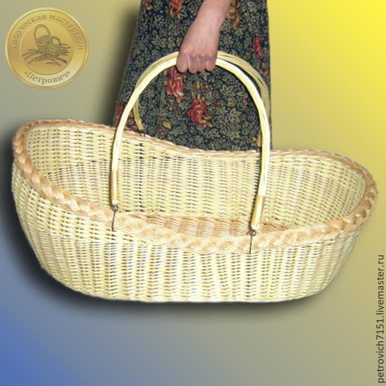 Купить Переноска - люлька плетеная с ручками. - лозоплетение, плетение, из лозы, лоза, ивовая лоза, прут