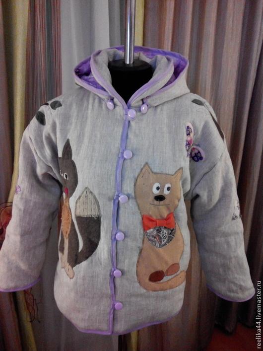 Эко-куртка из льна на синтепоне...