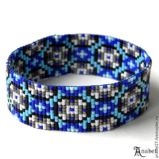 Браслеты ручной работы. Ярмарка Мастеров - ручная работа. Купить Браслет из бисера в сине-голубых тонах, бисерный браслет с узором. Handmade.