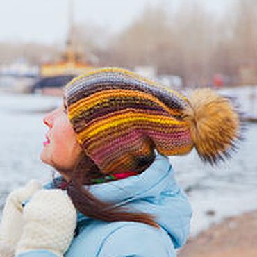 Аксессуары ручной работы. Ярмарка Мастеров - ручная работа Вязаная шапка Kristy с помпоном. Handmade.
