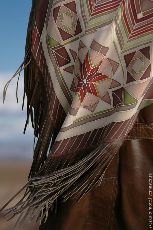 Шарфы и шарфики ручной работы. Ярмарка Мастеров - ручная работа. Купить шелковый шарф в этническом стиле. Handmade. Орнамент