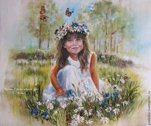 """Люди, ручной работы. Ярмарка Мастеров - ручная работа. Купить Детский портрет по фото """"Девочка на поляне"""". Handmade. Белый"""