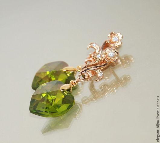 Серьги позолоченные с кристаллами Сваровски `С мечтою о весне`