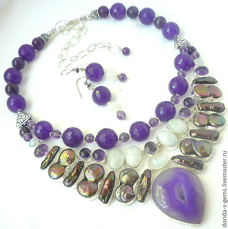 necklace, handmade, designer necklace as a gift, a necklace with pearls, amethyst, moonstone, agate, beads from pearls, amethyst, moonstone, agate