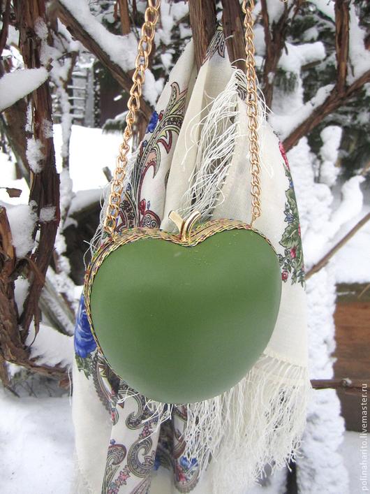 """Женские сумки ручной работы. Ярмарка Мастеров - ручная работа. Купить Клатч """"Apple"""". Handmade. Зеленый, клатч из натуральной кожи"""