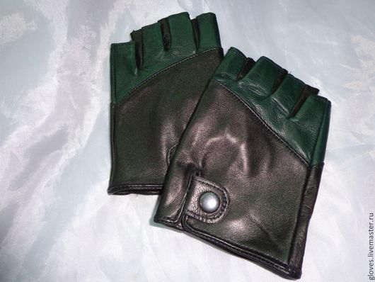 Варежки, митенки, перчатки ручной работы. Ярмарка Мастеров - ручная работа. Купить Митенки  кожаные закрытые двухцветные. Handmade. Митенки