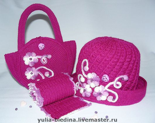 Hats and scarves handmade. Livemaster - handmade. Buy Set for girls 'Lilac wonder'.Clothes for children