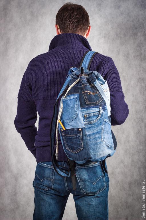 """Рюкзаки ручной работы. Ярмарка Мастеров - ручная работа. Купить Рюкзак джинсовый """"Карманы"""". Handmade. Рюкзак, рюкзак женский, джинсы"""